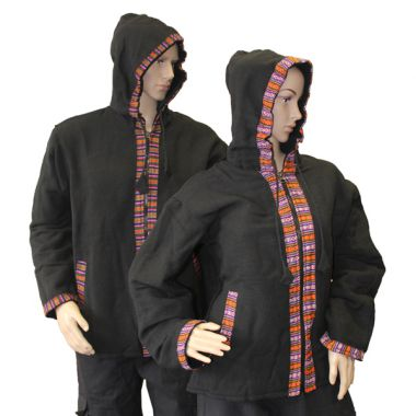 Black Bhutan Trimmed Jacket
