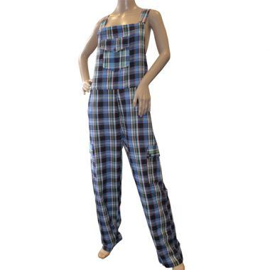 Federation Funky Chequered Cotton Dungarees