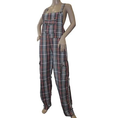 Betelgeuse Funky Chequered Cotton Dungarees