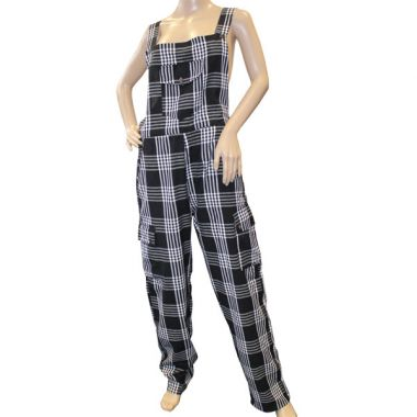 Romulus Funky Chequered Cotton Dungarees