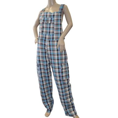 Abernathy Funky Chequered Cotton Dungarees