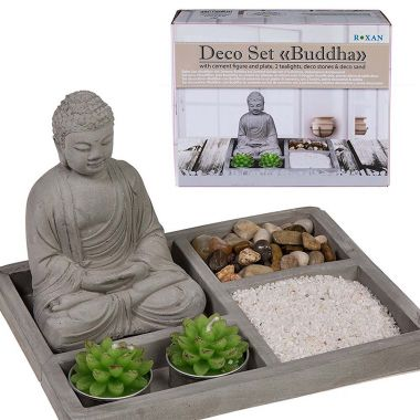 Buddha Deco Set with Cement Figure and Plate