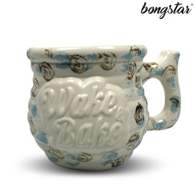 Bongstar Wake & Bake Ceramic Mug - White Spiral Patterned