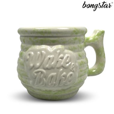 Bongstar Wake & Bake Ceramic Mug - White with Lime Splatter