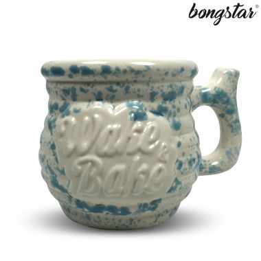 Bongstar Wake & Bake Ceramic Mug - White with Blue Splatter