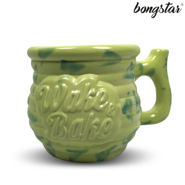 Bongstar Wake & Bake Ceramic Mug - Lime with Green Triangles