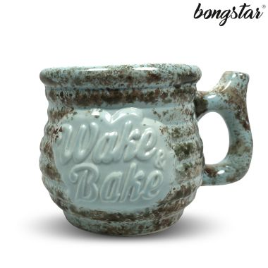Bongstar Wake & Bake Ceramic Mug - Pale Blue with Camo Splatter